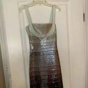 HERVE LEGER Grey Sequin Ombré Bandage Mini dress